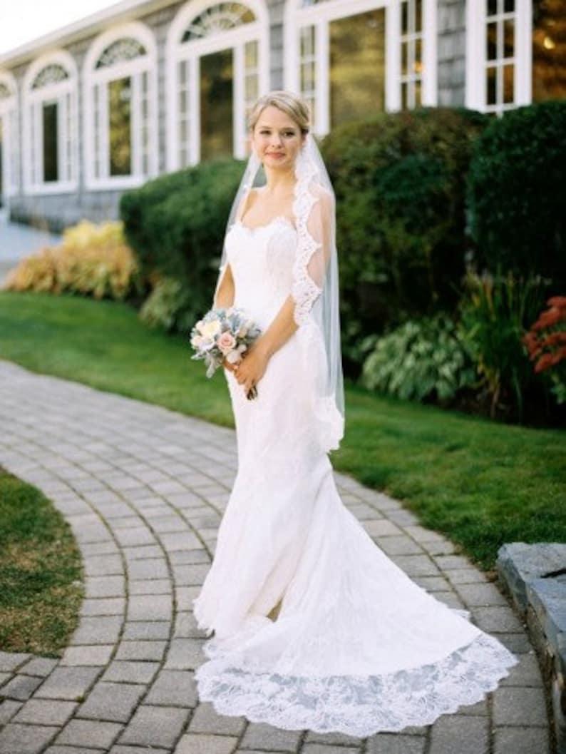 Lace Bridal Veil Lace veil Lace Wedding Veil Lace  Elbow Fingertip Waltz Chapel Cathedral length veil bridal veil ivory white