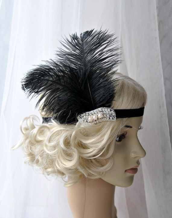 The Great Gatsby 20 s Pearls flapper Headpiece Vintage  f8eacb14eb16