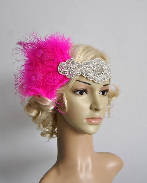 Pink beaded flapper Gatsby Headband Peacock Wedding Beaded  e9a36e5a668