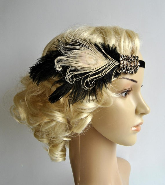 Great Gatsby headpiece Black Ivory Flapper Feather Headband 1920s rhinestone Headband Feather bridesmaid headband headdress fascinator