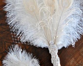 Bridal Fan alternative Ostrich Feather Fan Bridal Bouquet Ivory Gatsby 1920s Bouquet Bridesmaid Fan wedding groom feathers boutonniere gift