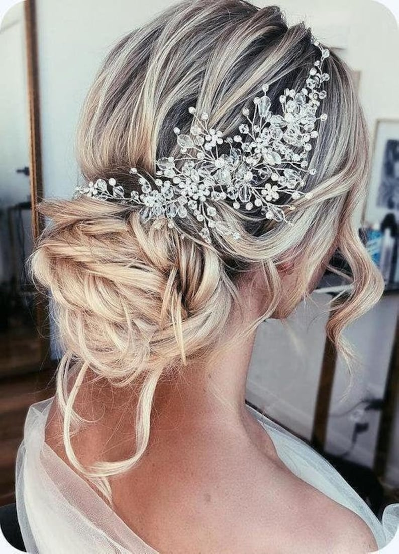 Bridal Pearl Hair vine Comb DAFNE Wedding Hair Comb vine Hair image 0