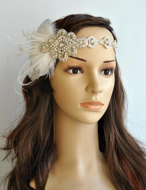 Rhinestone 1920s Headpiece Flapper headband Flapper | Etsy