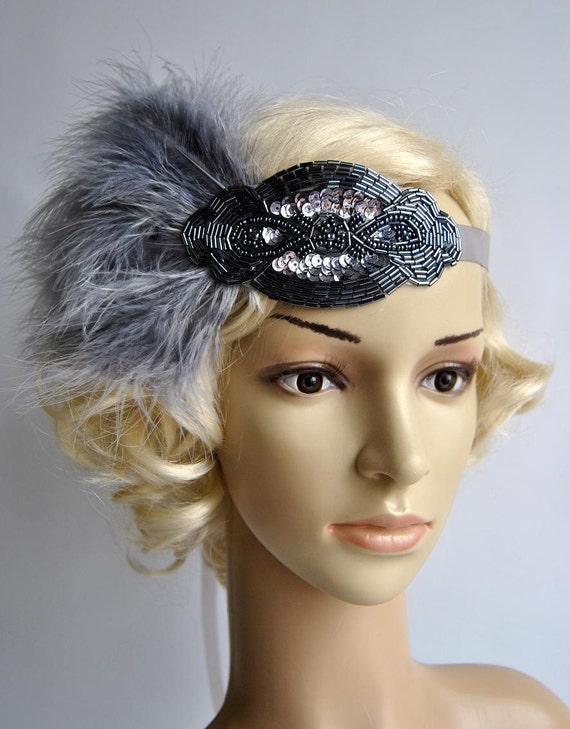 Silver gray beaded flapper Gatsby HeadbandWedding Headband  cb16d42d4ec