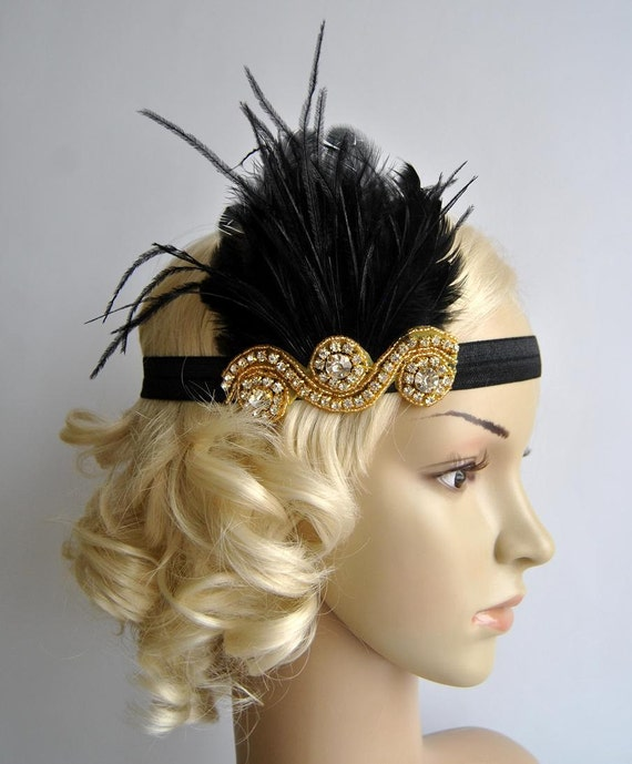 Gold and Black The Great Gatsby20 s flapper Headpiece  46921538cf95