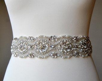 "All around Luxury 2"" wide Crystal Bridal Sash Wedding Dress Belt Pearls Sash Rhinestone Bridal Bridesmaid Sash ,Wedding dress sash - CHLOE"