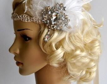 Glamour Rhinestone Flapper 1920s headpiece, Rhinestone Headband, Bridal wedding headband, the great gatsby headpiece, rhinestone flapper