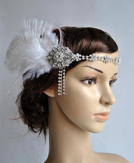 Charming Rhinestone Headband 1920s Great Gatsby Headwear Wedding Dress Sash