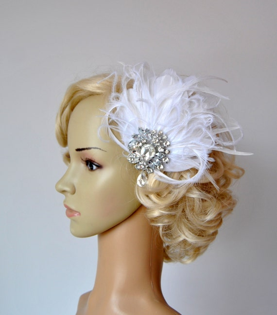 Headpieces For Weddings Australia: Vintage Bridal Flapper Headpiece Fascinator 1920's