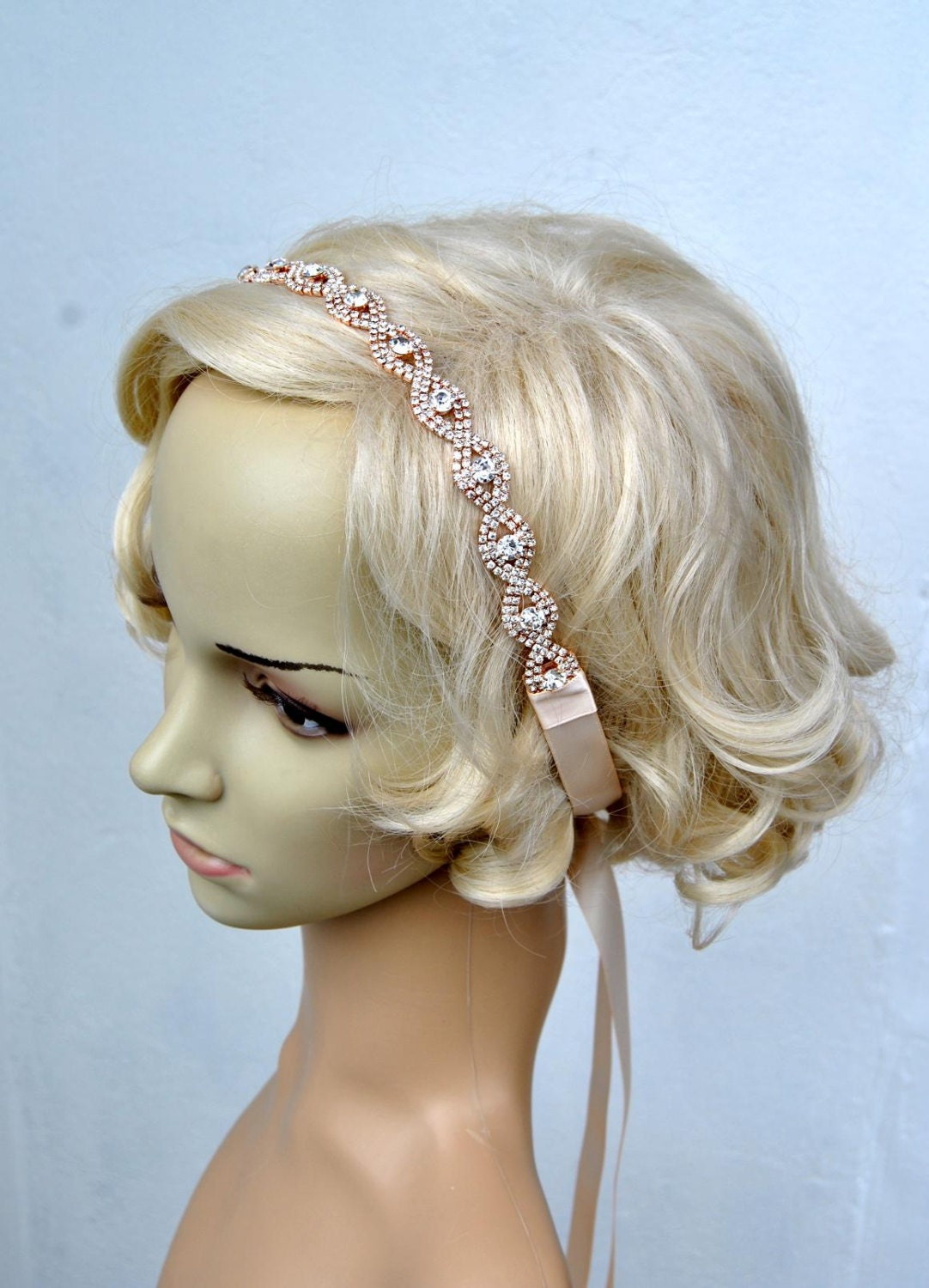 Rose Gold Rhinestone Headband Great Gatsby Crystal Headband Etsy