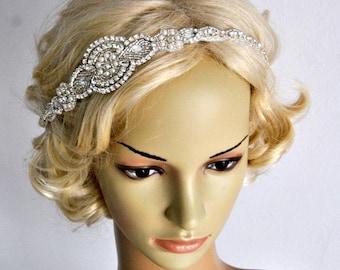 Long Bridal Headband Crystal Pearls Rhinestone Wedding Headband Headpiece, Crystal Bridal Flapper 1920s Great Gatsby Headband Headpiece gift