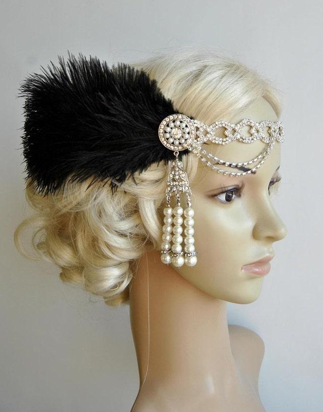 The Great Gatsby 20 s rhinestone pearls flapper headband 1918826a9669