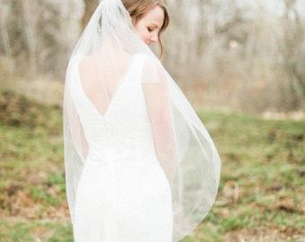 Soft Bridal Fingertip veil, Wedding Veil, simple Bridal ivory veil Double 2 Layer Fingertip length short sheer long chapel sheer veil gift