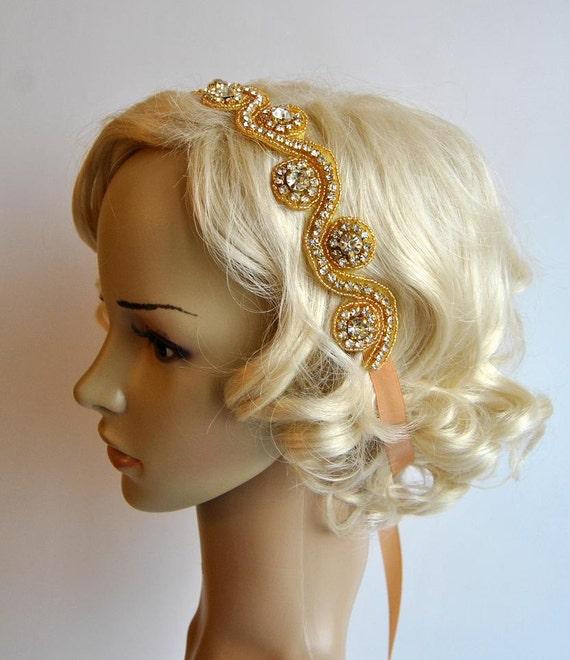 Headband de Crystal Rhinestone bandeau, serre-tête mariage, or, casque Wedding, Halo Bridal bandeau serre-tête garçonne des années 1920