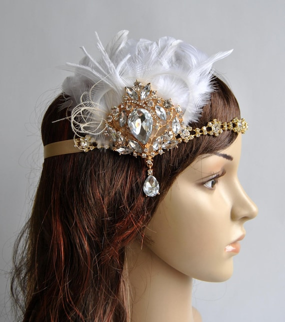 Gold 1920 s gatsby headpiece chamagne gold The Great  9514bc06679