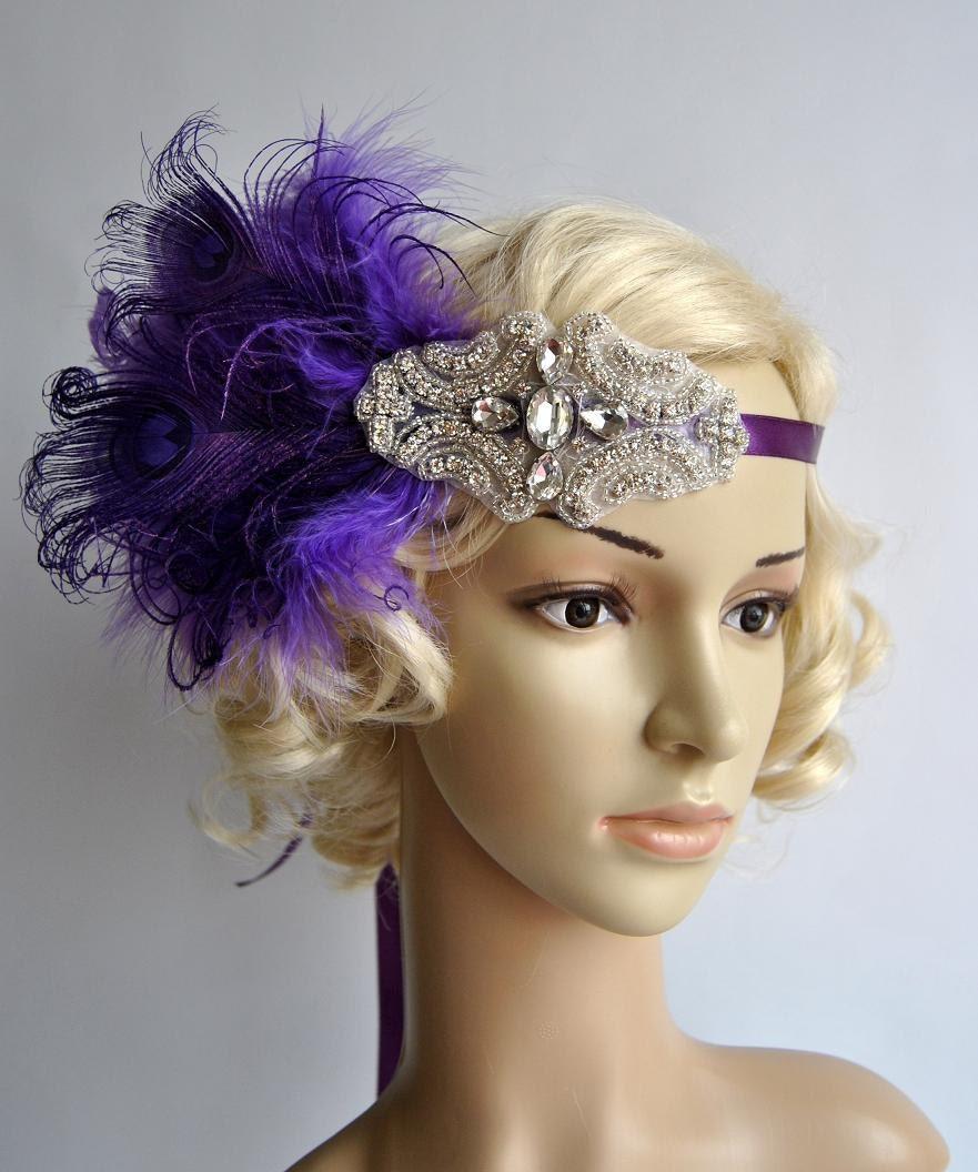 Purple beaded flapper Gatsby Headband Peacock Wedding Beaded  00c0842cd52