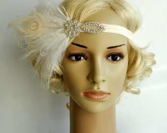 Flapper Feather Headband headpiece hairpiece Great Gatsby 1920s Flapper Crystal Headband Vintage Inspired, Feather bridal headband Hair Clip