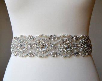 Luxury 2 inch wide Crystal Bridal Sash Wedding Dress Sash Belt Pearls SashRhinestone Bridal Bridesmaid Sash ,Wedding dress sash -CHLOE