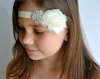 Ivory Shabby Chic Rhinestone headband, Flower Girl Headband, baby hair bows, wedding headband, baby headband, toddler headband, bridesmaid