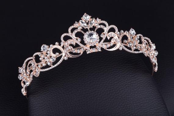 Rose Gold Silver Gold Clear Rhinestone Crystal Wedding Headpiece Bridal Tiara