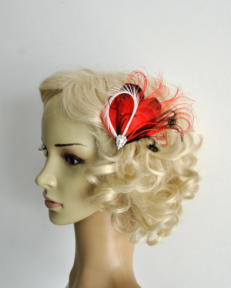 Ivory Peacock Feather Hair Clip HEART in Black Red Feather Fascinator Rhinestone Headpiece christmas Hair piece