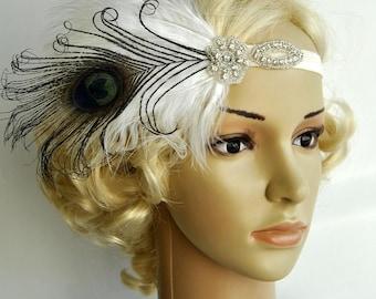 Flapper Feather Headband,The Great Gatsby headpiece, 1920s Flapper rhinestone Headband, Vintage Inspired,Feather, Art Deco headband