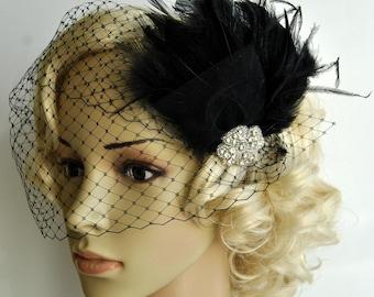 Veil and fascinator Downton Abbey 1920's flapper headpiece-  black, The Great Gatsby, birdcage veil set, Feather fasciantor