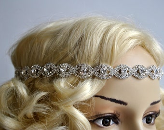 Rhinestone Headband hairpiece Crystal Gatsby Headband, Crystal Wedding Bridal Headband Headpiece, 1920s Flapper headband, Bridesmaid gift