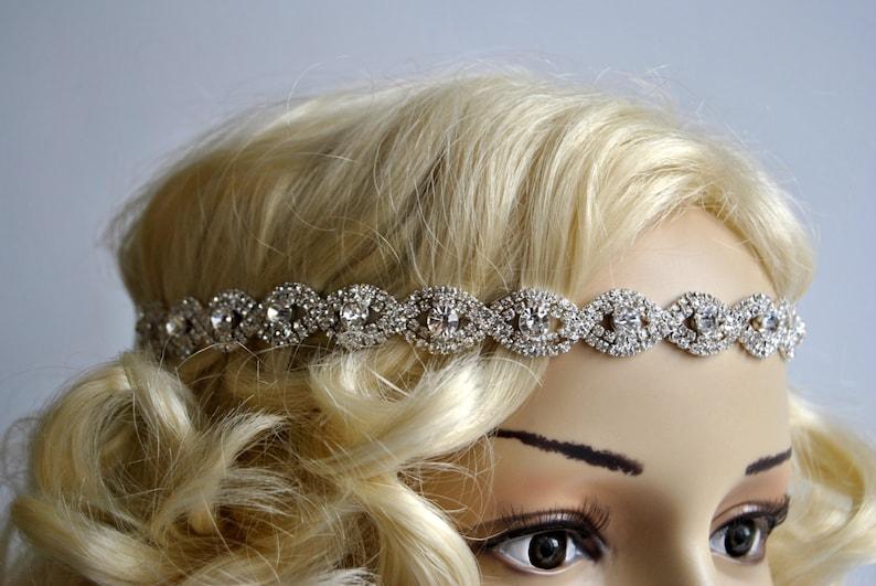 Rhinestone Headband hairpiece Crystal Gatsby Headband Crystal image 0