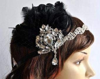 1920's flapper Headpiece, Rhinestone Flapper headband, The Great Gatsby, rhinestones headband, vintage rhinestone brooch, silver black