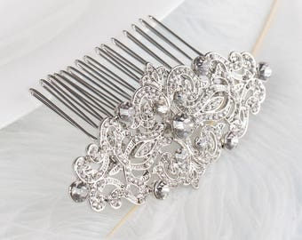CHRISTINA Crystal Bridal Art Deco Hair Comb 1920s, Great Gatsby Vintage Inspired Hairpiece Bridal Hair Accessory Headpiece Crystal Hair Comb