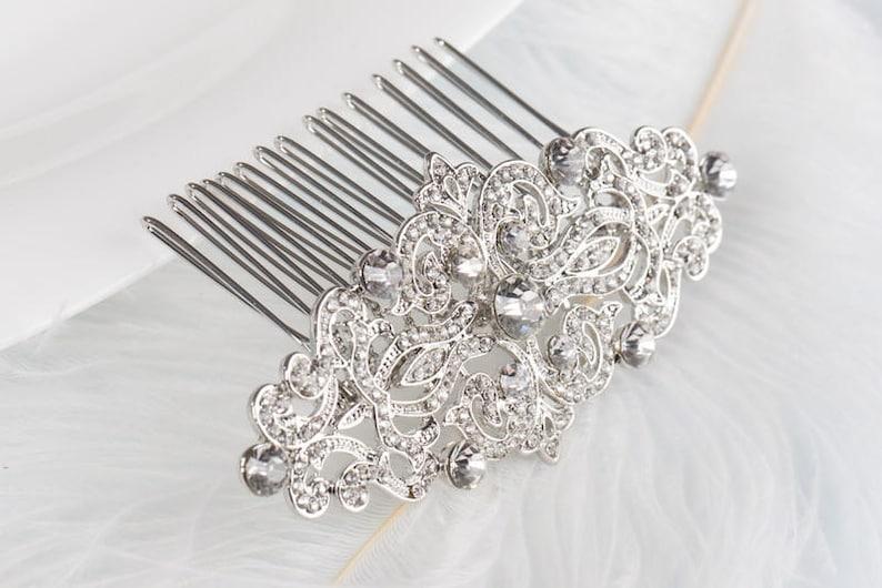 CHRISTINA Crystal Bridal Art Deco Hair Comb 1920s Great image 0