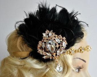 Vintage Inspired Headband, The Great Gatsby Headband, 1920s headpiece, Flapper Feather Headband, 1920's, Gold, Black ,rhinestone