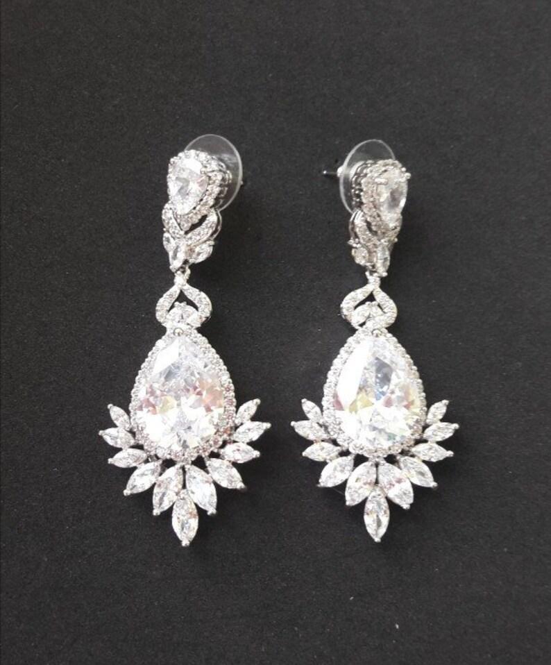 7df86335db76b LAUREN Bridal Earrings, crystal Wedding Swarovski earrings, Bridesmaids  gift, Long Bridal Crystal Stud Earrings, Wedding Jewelry, Bracelet
