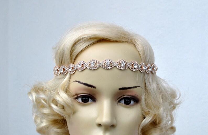 Rose Gold Rhinestone Headband Great Gatsby Headband Crystal  4b8277a25a2