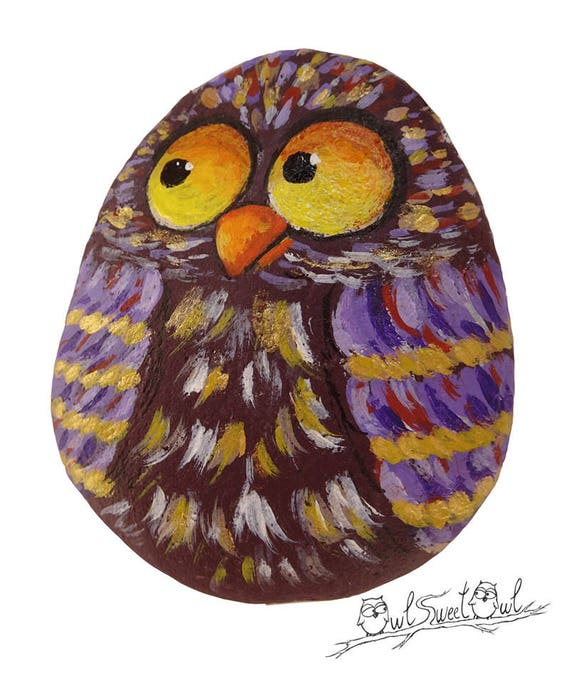 Colorful Original Owl Painted on a Sea Rock  | Art by Owl Sweet Owl