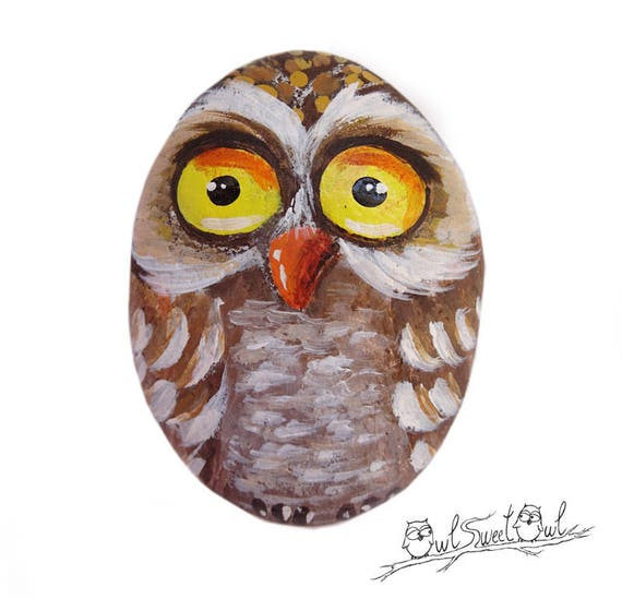 Original Funny Owl Painted on a Sea Rock | Original Art by Owl Sweet Owl