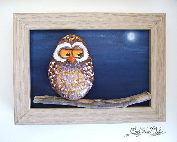 Unique Handmade Colorful Owl Artwork | 3-D Painting Made with a Painted Pebble, and a Moon Made of Clay!