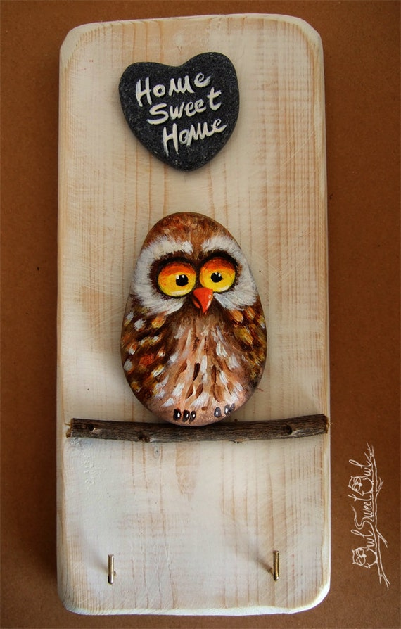 Unique Handpainted Owl Key Hook | Home Sweet Home Wall Key Holder