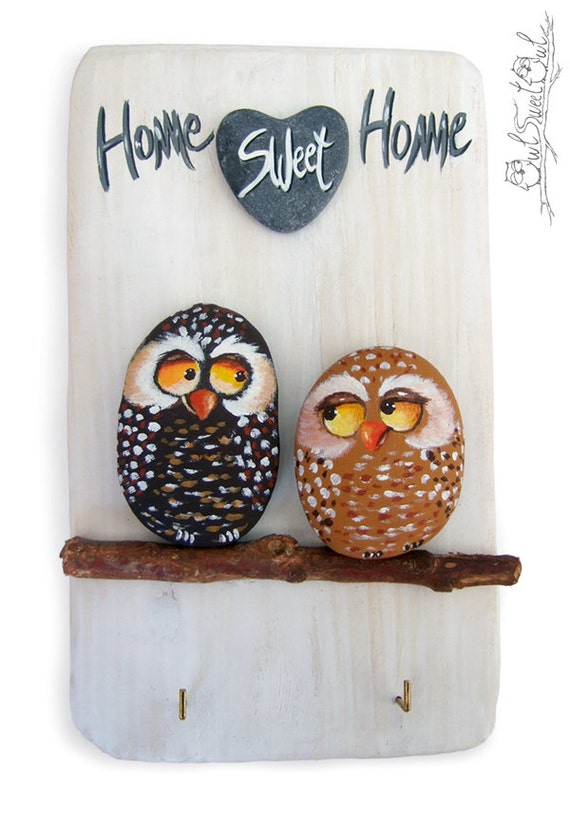 Unique Handpainted Owls Key Hook | Home Sweet Home Wall Key Holder