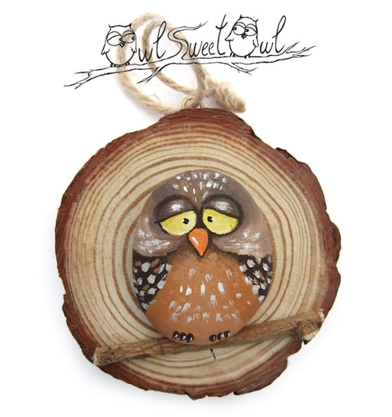 Unique Illustrated Owl on a Wooden Trunk Section | Original Gift Idea by Owl Sweet Owl