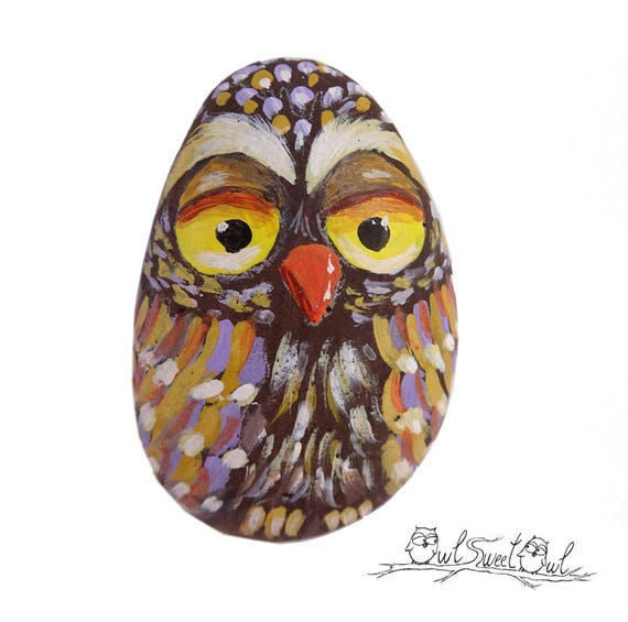 Funny Owl Painted on a Sea Rock | Original Art by Owl Sweet Owl