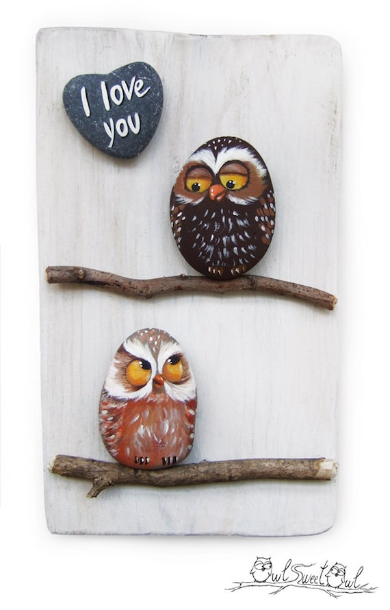 Unique Handmade 'I Love You' Owls Artwork | 3-D Painting Made with Painted Pebbles and Sticks