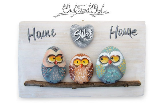 Home Sweet Home, Owl Family Painting, Funny Owls, Cartoons Owls, Family Owls, Owls in Love, Big Eye Owl