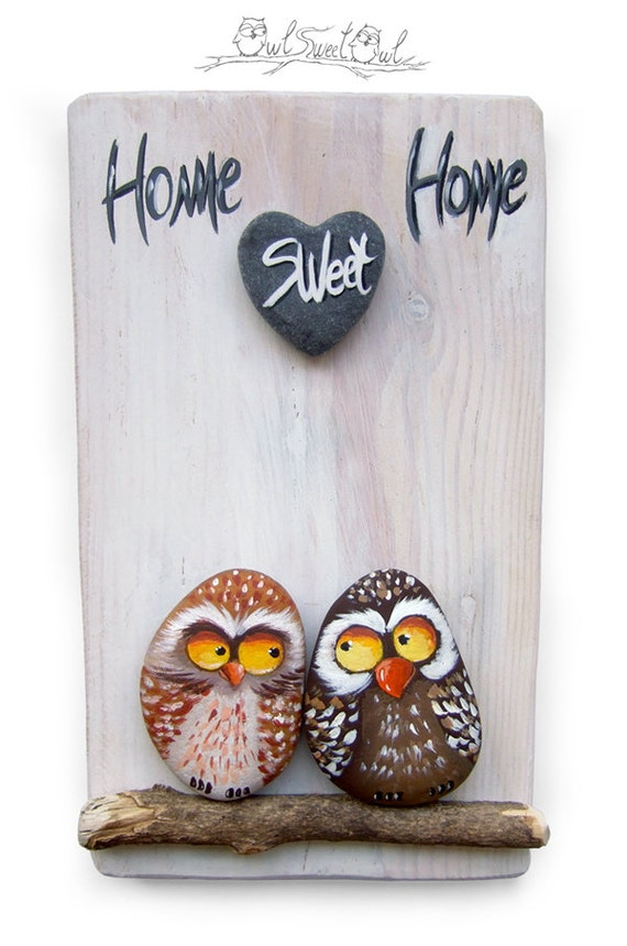 Unique Handmade 'Home Sweet Home' Owls Artwork | 3-D Painting Made with Painted Pebbles, Sticks and a Marble Heart