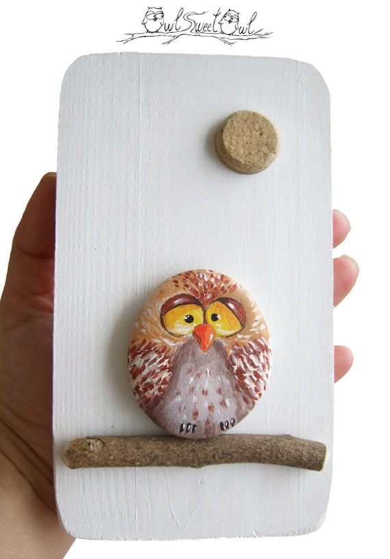Unique Handmade Owl Artwork | 3-D Painting Made with a Painted Pebble, Twig and a Cork Section for the Moon!