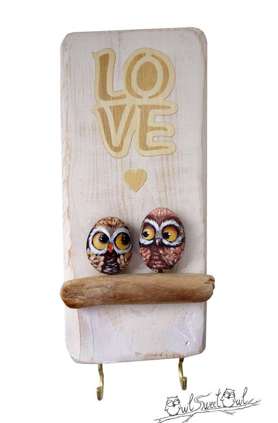 Owls in Love Handmade  Artwork | 3-D Painting Made with Painted Pebble Owls and Stick
