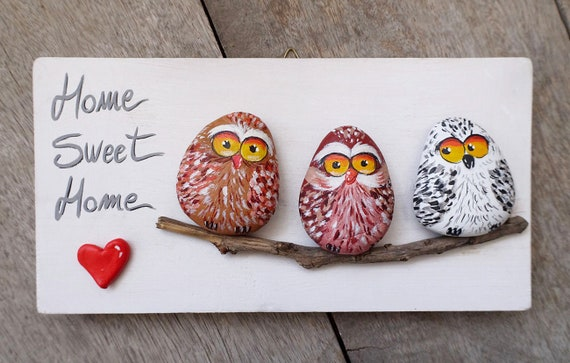 Funny Owls Handmade 'Home Sweet Home' Owls Family Painting | 3-D Artwork- Cute owls- Cartoon owls- Illustration