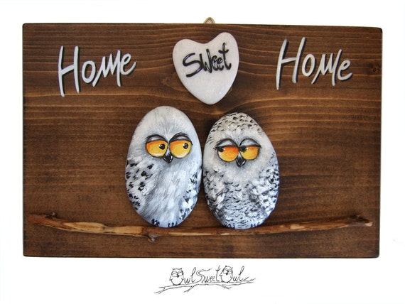 Unique Handmade 'Home Sweet Home' Snowy Owls Artwork | 3-D Painting Made with Painted Pebbles, Twig and a Marble Heart