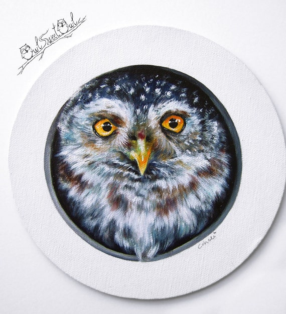 Unique 3-D Owl Painting | Original Handpainted Artworks by Calidé